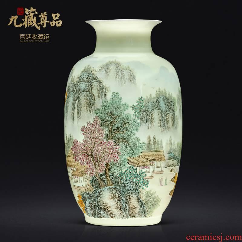 The Master of jingdezhen ceramics hand - made pastel landscape vase Chinese style living room TV cabinet decorative furnishing articles arranging flowers