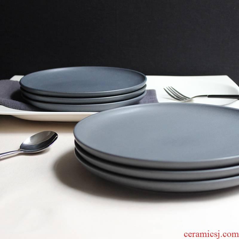 Utsuwa ceramic plate dessert plate Nordic beefsteak dish dish between example casual dining restaurant matte enrolled, black