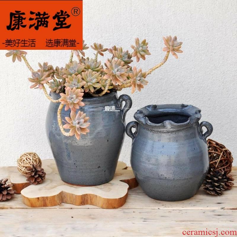 ~ coarse pottery meaty plant pot black ceramic vase household household large flower implement breathable ears POTS.