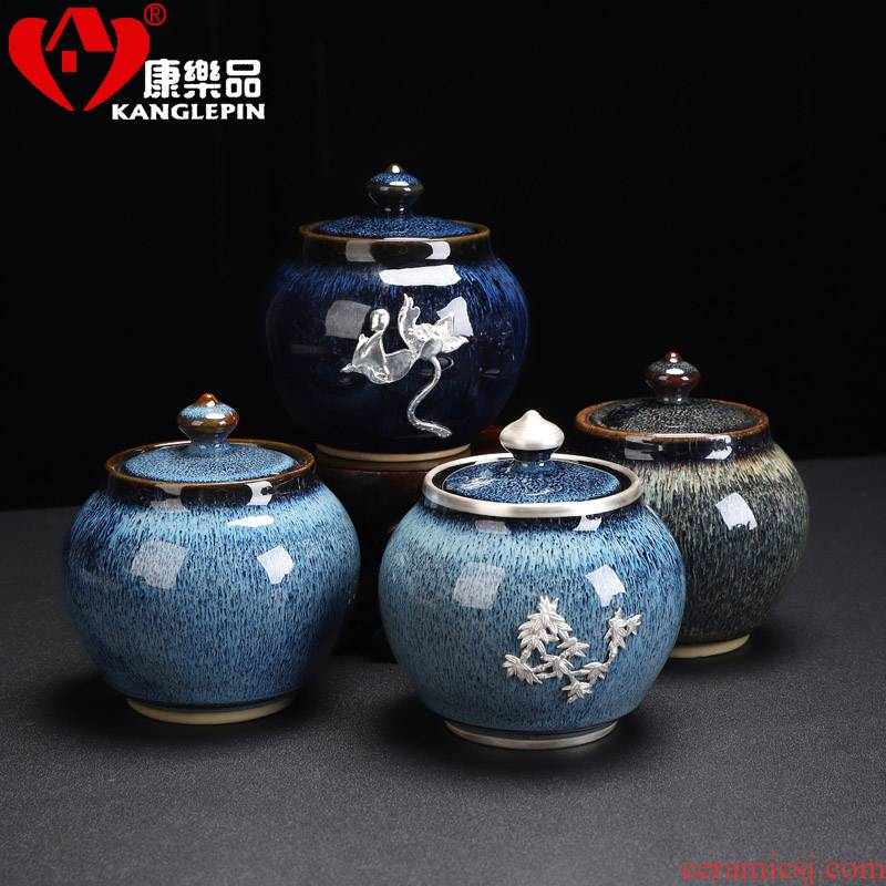 Recreation products built red glaze coppering. As the silver ceramic tea pot small obsidian seal pot tea storage tanks