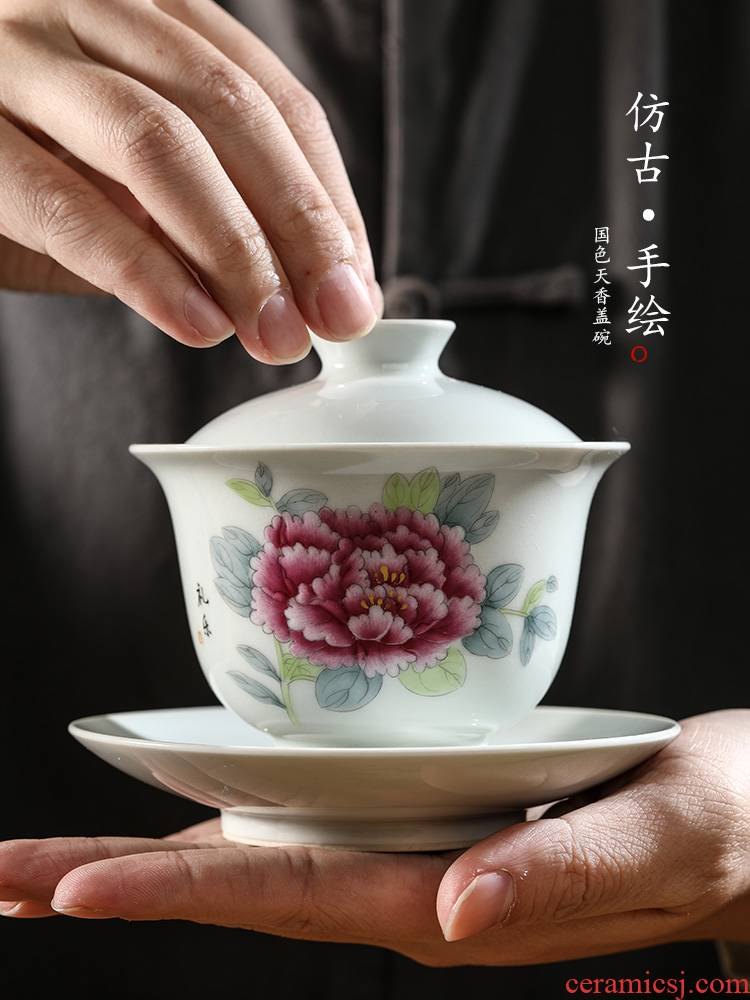 Pure manual only three tureen tea cups jingdezhen hand - made peony large - sized iron bowl kung fu tea set getting out