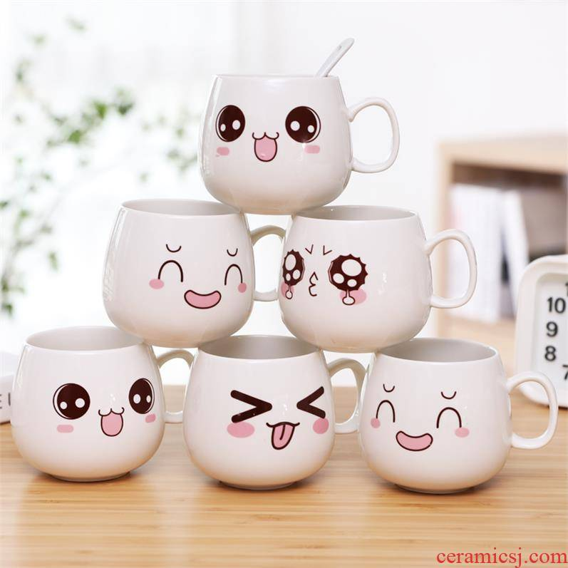 Trend of ceramic cup children household water cup go out small portable glass with cover a single young girl heart of straws
