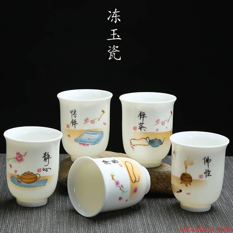 Large ceramic cups kung fu tea set jade porcelain sample tea cup, master cup 150 ml of zen cup dehua white porcelain