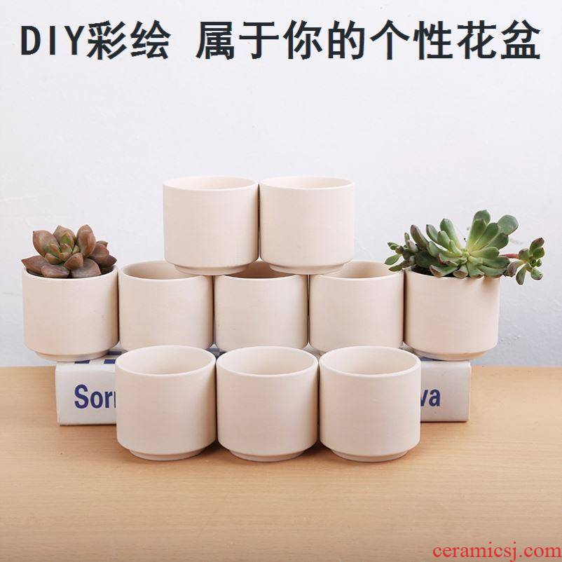 Gardening biscuit firing lovely fleshy flowerpot ceramic clay POTS suit breathable manual flowerpot small green the plants indoors