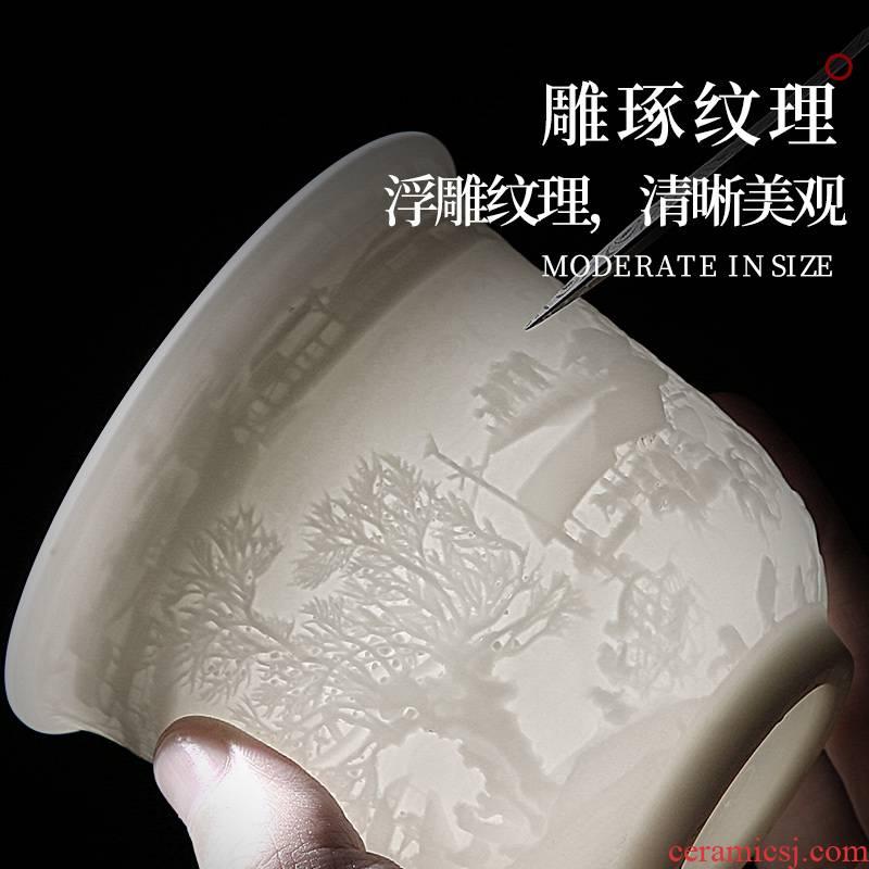 Dehua manual suet jade white porcelain kung fu tea tea set single cup tea masters cup ceramic sample tea cup, tea bowl
