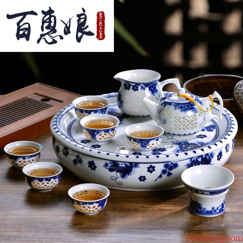 (niang jingdezhen porcelain glaze ceramic tea set exquisite household take tea tray in kung fu tea cups of tea