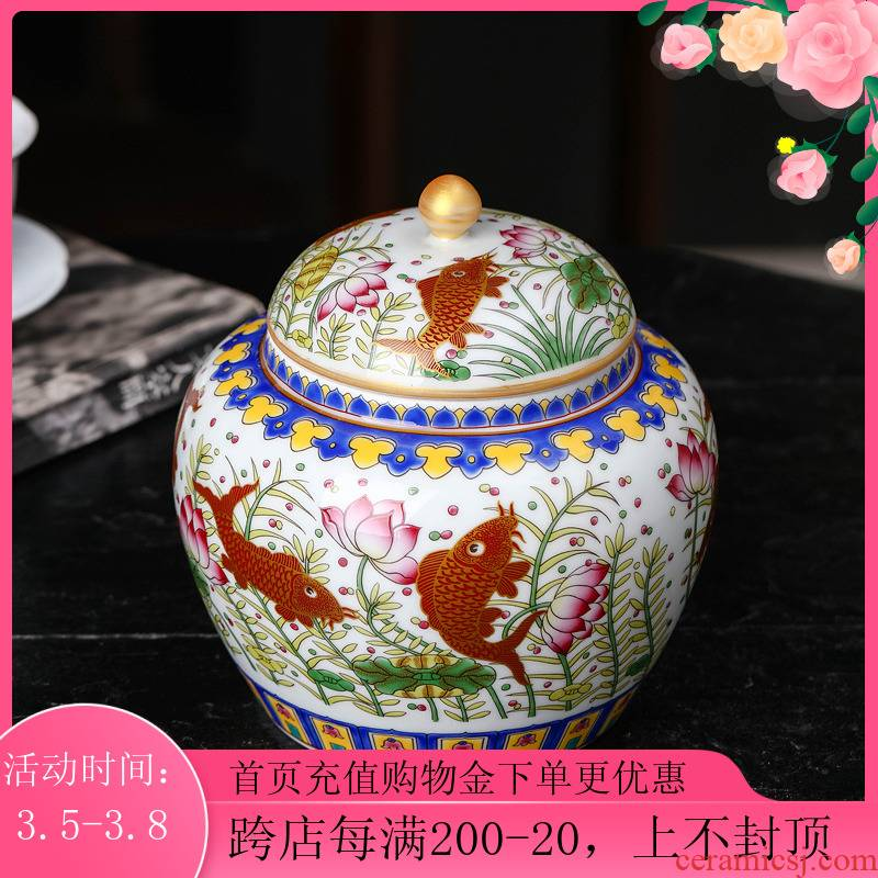 Jingdezhen ceramic colored enamel caddy fixings trumpet with cover half jins of household puer tea to wake tea storage sealed as cans