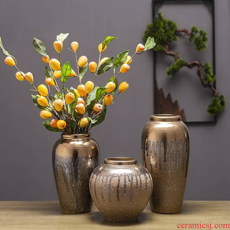 Simple fashion light key-2 luxury postmodern gold sample room living room home decoration porcelain ceramic vase furnishing articles