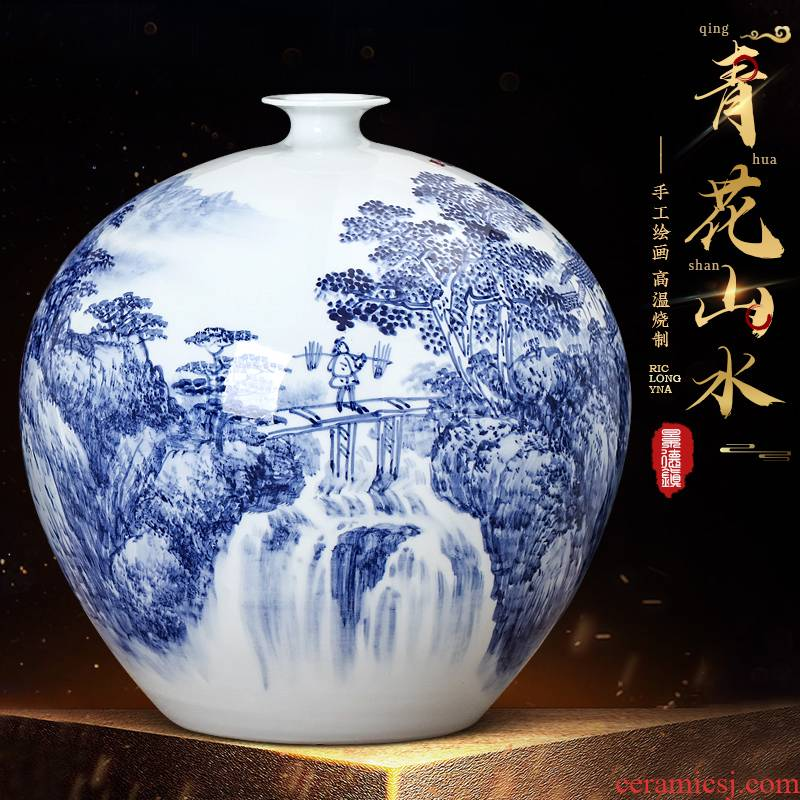 Jingdezhen blue and white landscape hand - made ceramics vase furnishing articles of Chinese style living room TV ark adornment household arranging flowers