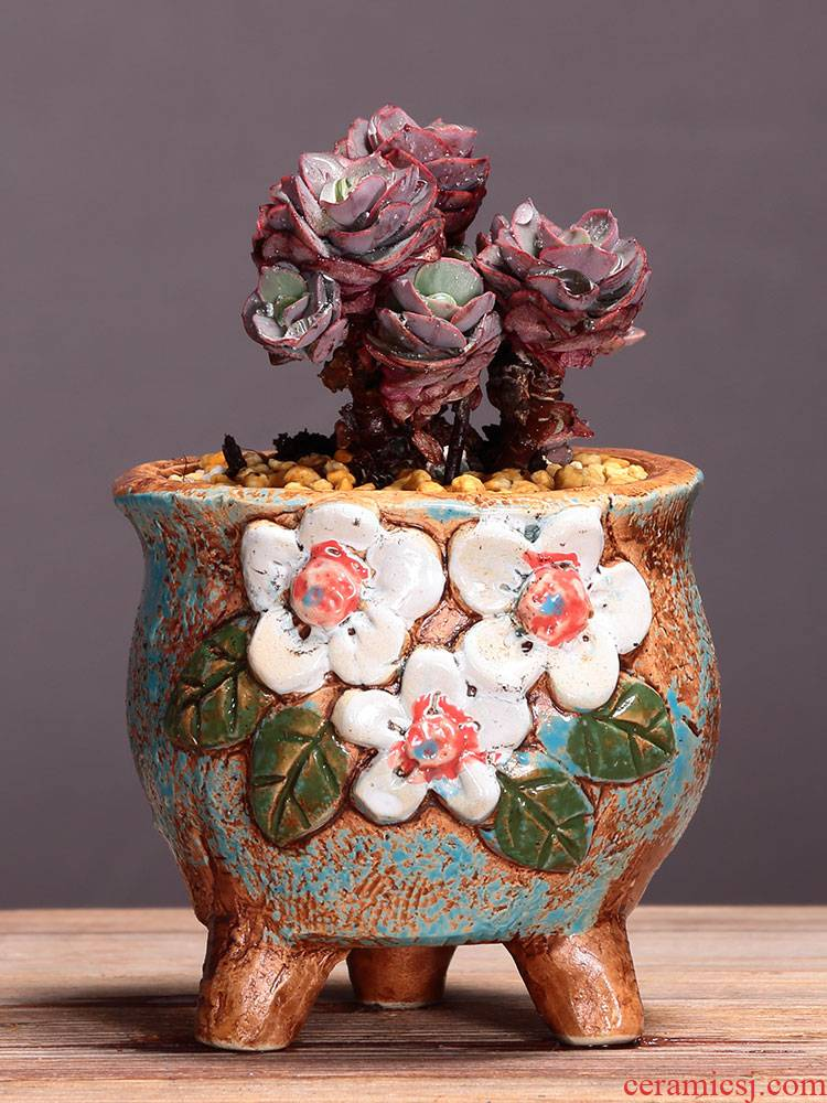 More special meat meat meat flowerpot ceramics package mail hand - made Korean small suit combination coarse pottery breathable