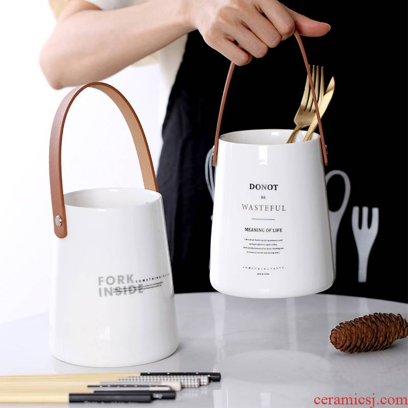 The Nordic leather handle tube creative contracted kitchen receive household ceramics tableware chopsticks cage ins of The wind