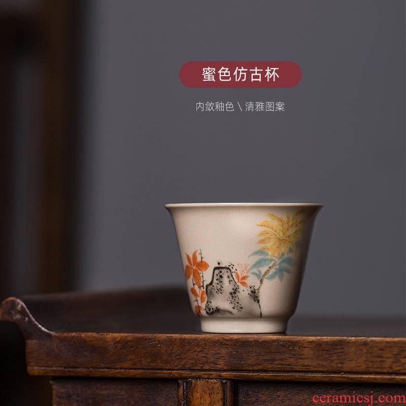 Jingdezhen ceramic kung fu tea chaoshan tea tea cup small master cup single CPU antique single lady