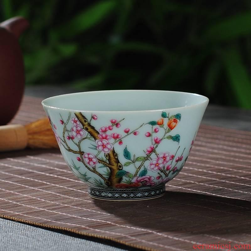 The Owl up jingdezhen antique green glaze colored enamel tea name plum flower wall painting master kung fu tea cups of tea