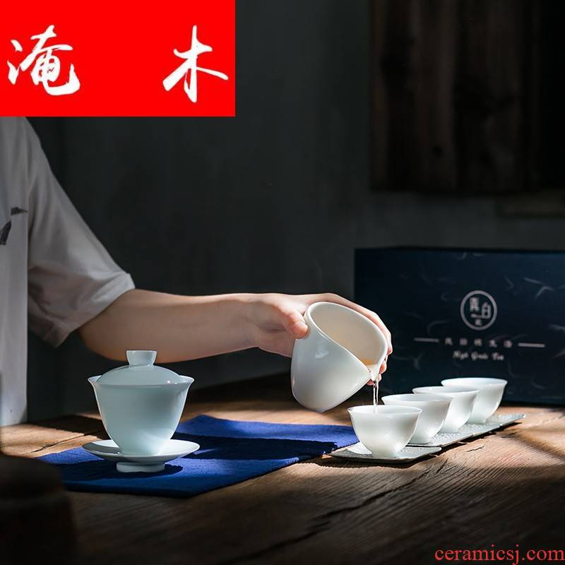 Submerged wood jingdezhen shadow sapphire mud tureen suit with the ritual a pot of four Japanese contracted tea set logo