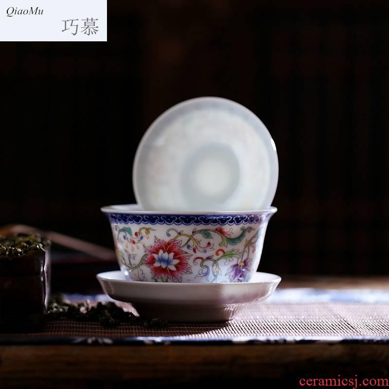 Qiao mu jingdezhen ceramic powder enamel tureen tea by hand only three bowl of tea bowl to kung fu tea cups