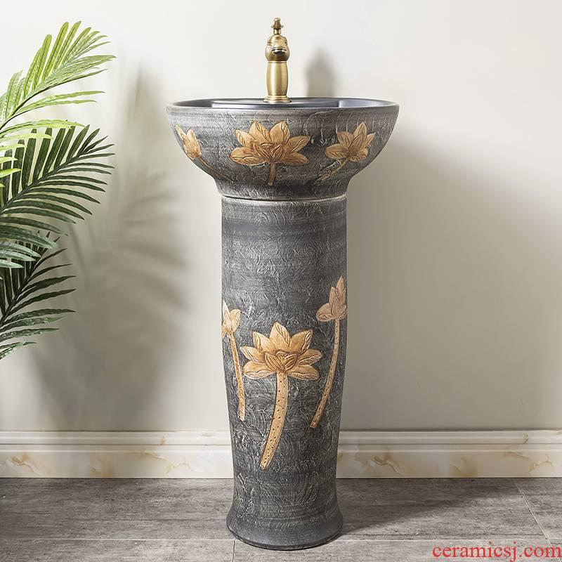 Pillar lavabo floor sink basin home Pillar type lavatory is suing ceramic basin of the post