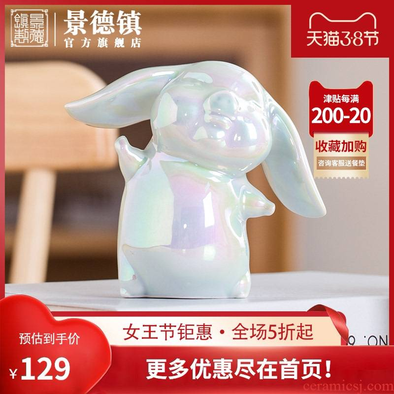 【 in 】 jingdezhen ceramic piggy furnishing articles mini small lovely creative home decoration in the sitting room desk
