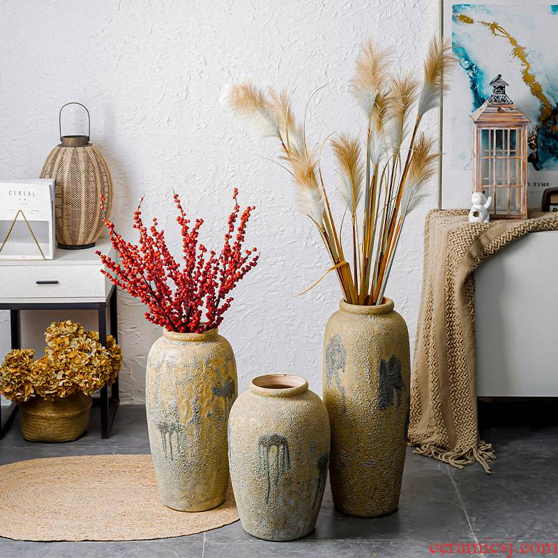 Restore ancient ways do old handicraft pottery furnishing articles Japanese ikebana exchanger with the ceramics coarse pottery zen flower implement manual floor vase