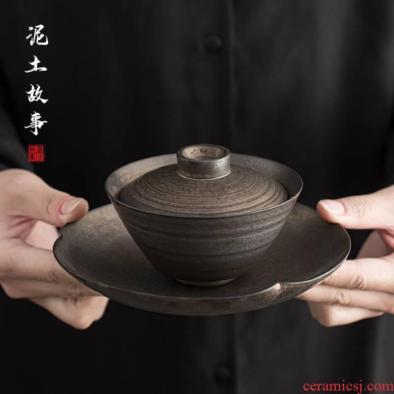 Retro rust glaze three only single is not a hot tureen jingdezhen Japanese coarse TaoChun manual firewood ceramic bowl