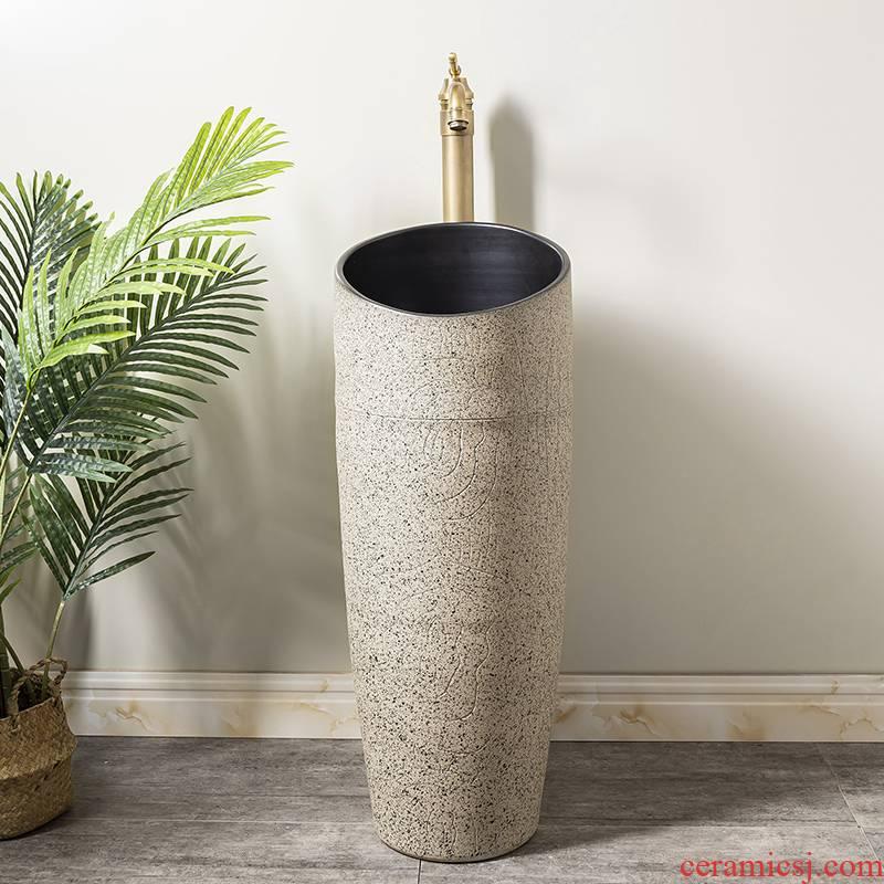 Household small family pillar type lavatory toilet lavabo is suing balcony floor ceramic basin of pillar 2