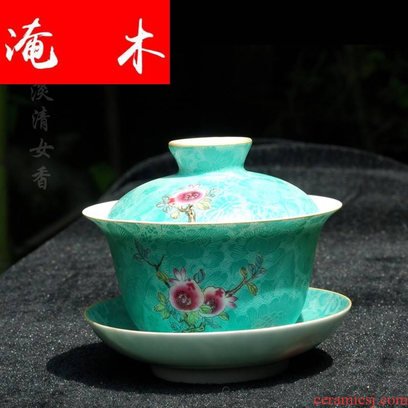 Submerged wood grilled hand - made pastel flowers tureen manual rolling way tea bowl jingdezhen fine all three bowls