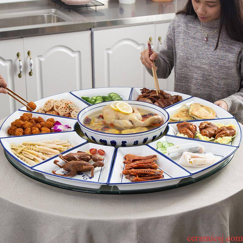 0 reunion the small dish platter fan dishes ceramic tableware seafood hot pot web celebrity home party round the table
