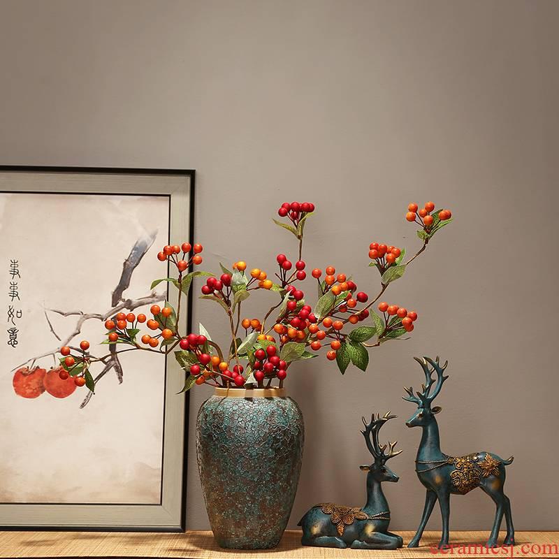 Modern creative home sitting room TV ark place jingdezhen ceramics vase decoration decoration new Chinese zen