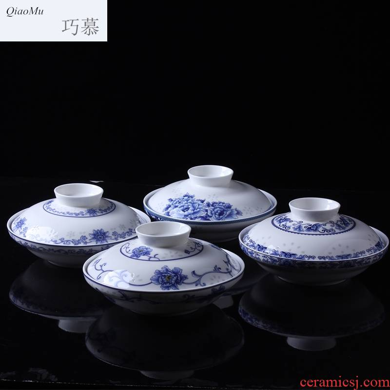 Qiao mu 【 】 jingdezhen blue and white and exchanger with the ceramics glaze color tableware suit under preservation bowl with cover plate