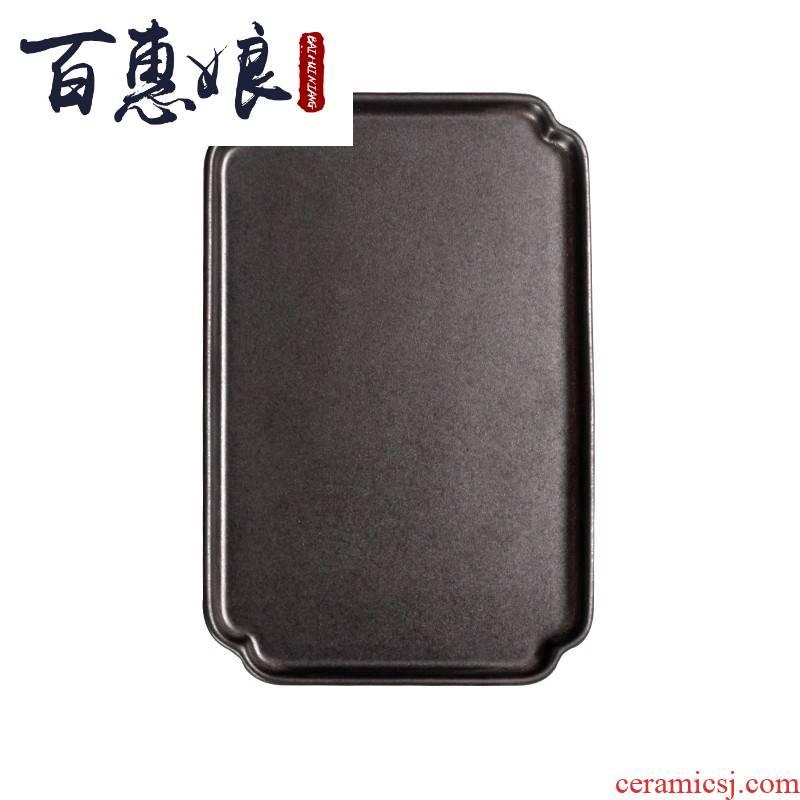 (niang, black pottery tea tray was Japanese tea set bearing dry terms ceramic pot set a rectangle coarse pottery tea tray kunfu tea