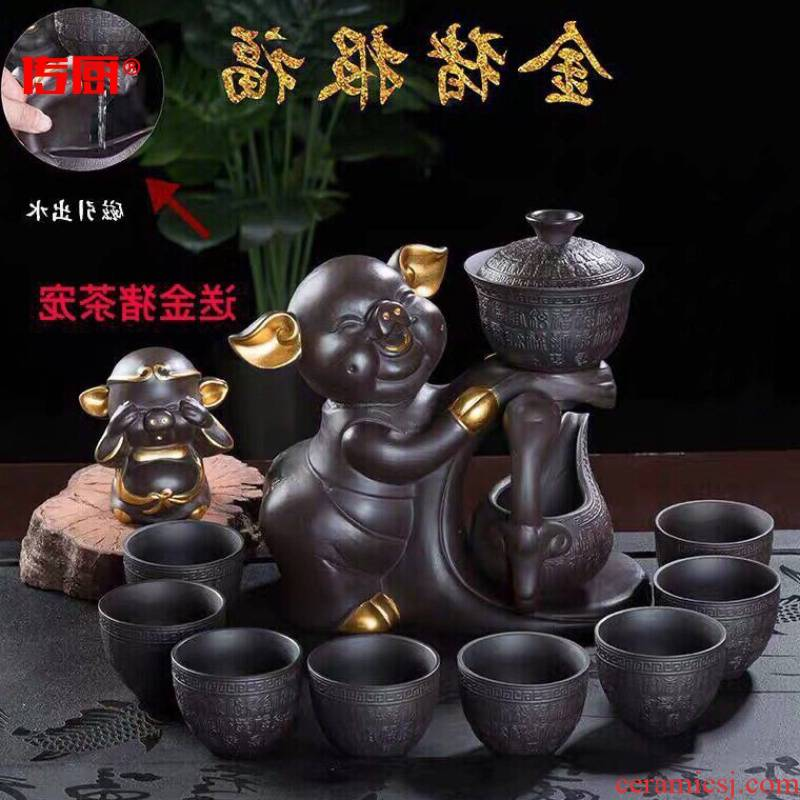 The kitchen fully automatic kung fu tea set household teapot lazy with tea cups, magnetic led purple ceramic terms