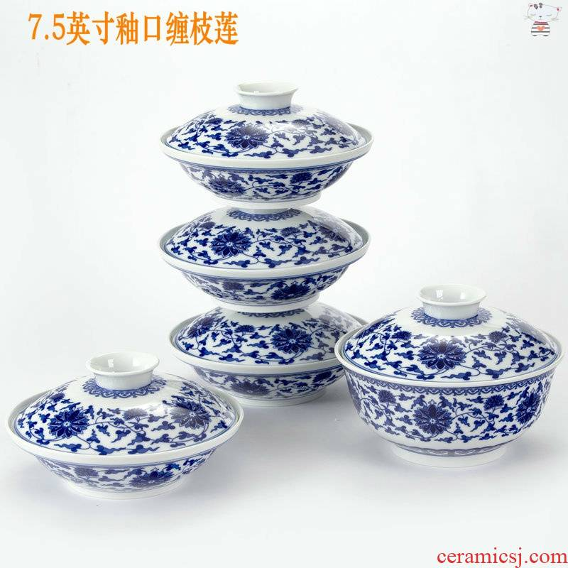Yu, jingdezhen and exquisite porcelain combiner four ceramic dish one soup plate with cover insulation food dish plate tableware