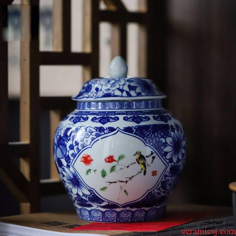 Ceramic tea pot Ceramic seal tank large Chinese style restoring ancient ways household storage tank is red, green and white tea longjing tea