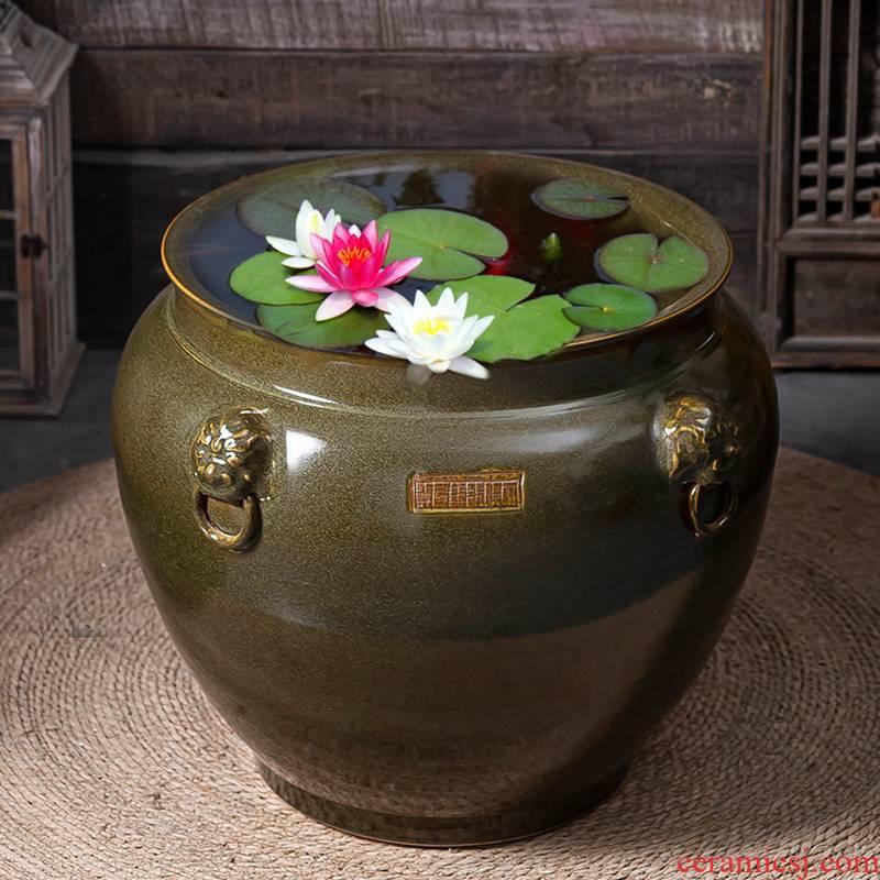 Archaize do old oversized jingdezhen ceramic cylinder lotus breeding courtyard planting cylinder lion a VAT