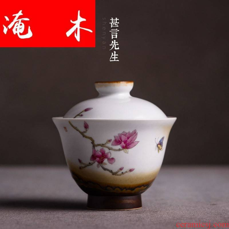 Submerged wood jingdezhen hand - made famille rose bowl tureen tea set three large ceramic cups kung fu to use a cup of tea