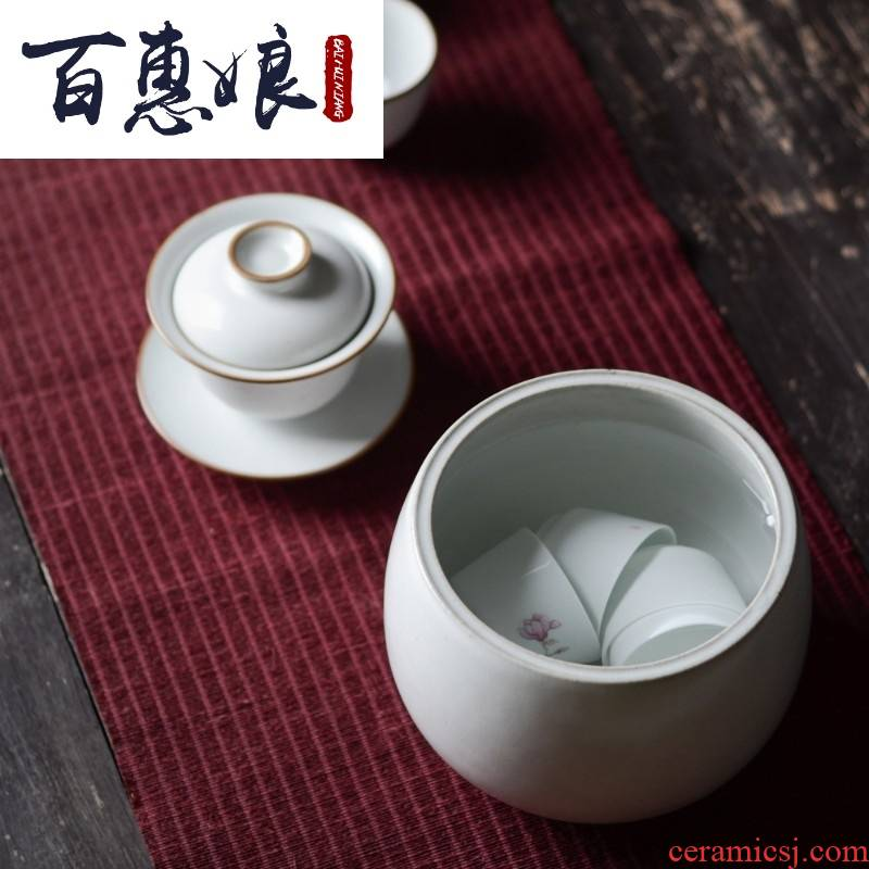 Open the slice (niang Japanese tea to wash to the jingdezhen ceramics by hand vintage home built meng kung fu tea cups to wash water