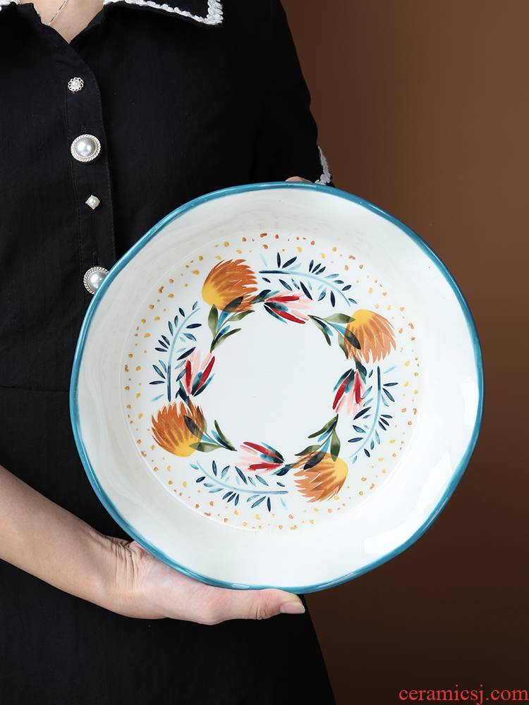 The Nordic ins hand - made pie dish ceramic home baking four seasons large plate of fruit salad plate of dinner plate