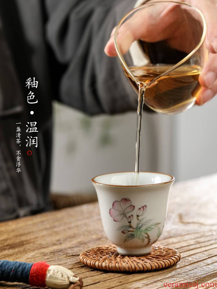 Pure manual your up kung fu tea cups master cup single CPU jingdezhen hand - made Chinese flowering crab - apple sample tea cup for cup