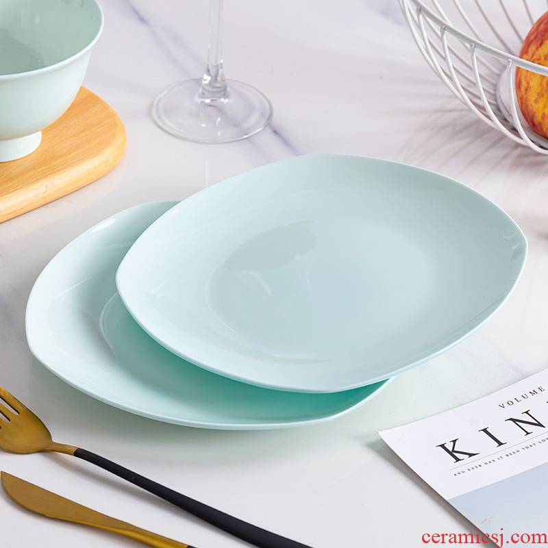Jingdezhen blue glaze ipads China northern wind creative features light and decoration plate tableware family net HongCan dish plate