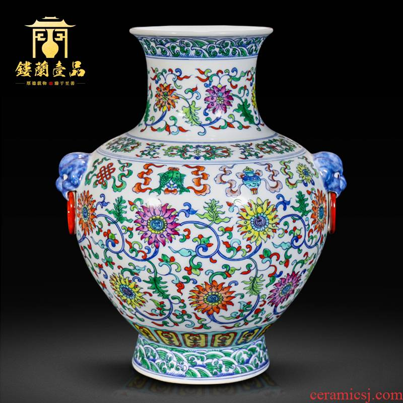 Jingdezhen ceramic dou lions ears flower arranging decorative vase sitting room of the new Chinese style household decorations collection furnishing articles