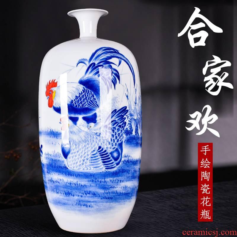 Jingdezhen ceramic blue CiGongJi family decorative vase of new Chinese style living room TV ark, handicraft furnishing articles