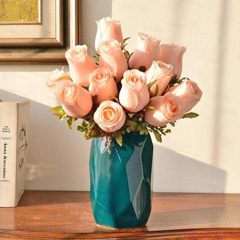 Modern light much simulation flower art flower arranging ceramic flowers, dried flowers, vase furnishing articles, the sitting room porch table European web celebrity