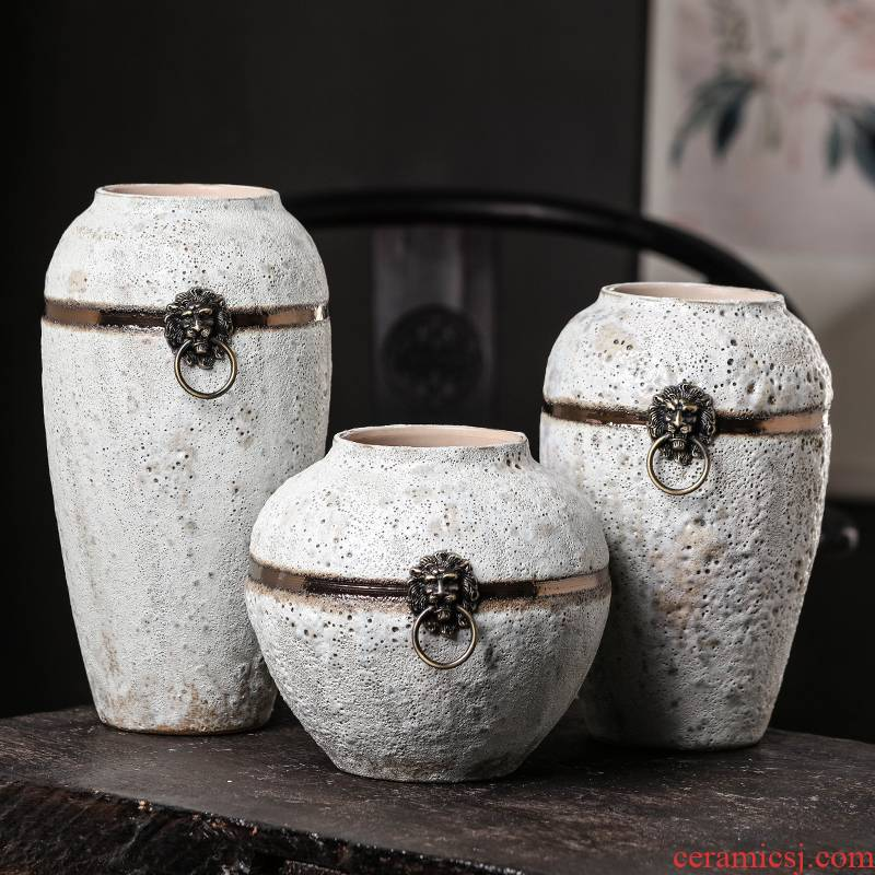 Jingdezhen ceramic retro nostalgia coarse pottery dried flower adornment of modern Chinese style living room wine flower vases, furnishing articles