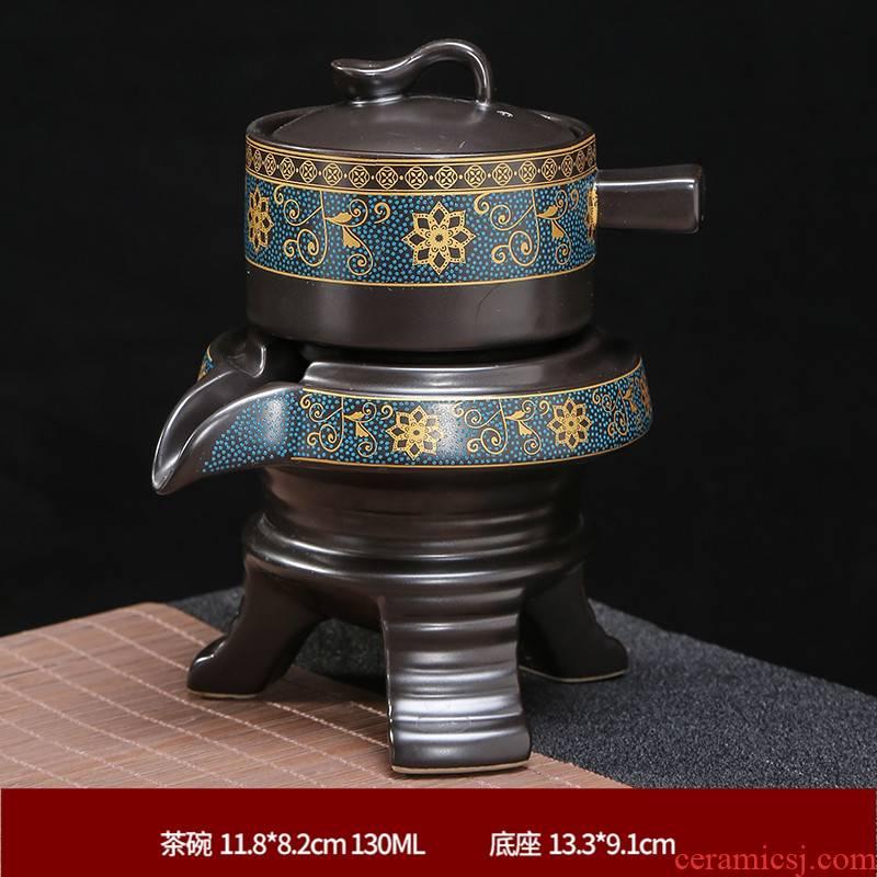 Semi - automatic kung fu tea set lazy household ceramics stone mill make tea tea teapot teacup whole contracted