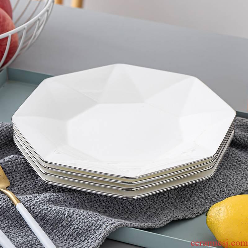 Son ipads porcelain dish dish creative household anise disc white Jin Bianshang plate square plate of jingdezhen ceramic plates