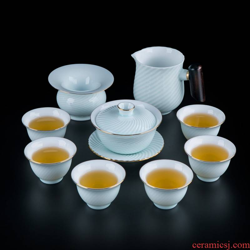 Tea tureen Tea set suit household contracted sitting room of Chinese style portable jingdezhen ceramic cups to travel
