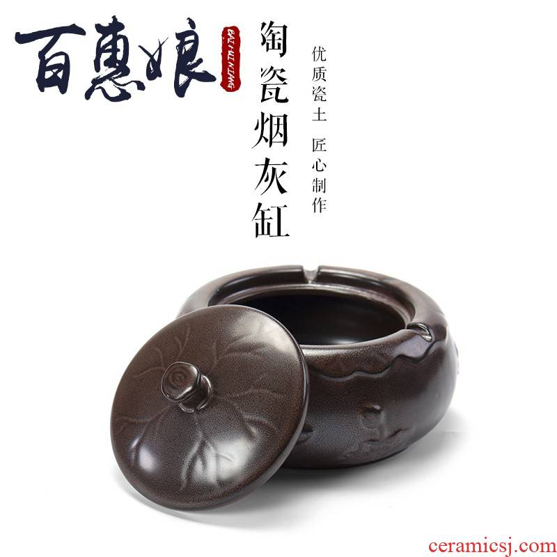 (niang creative ceramics with cover the ashtray home tea tea zero furnishing articles large ashtray with move trend