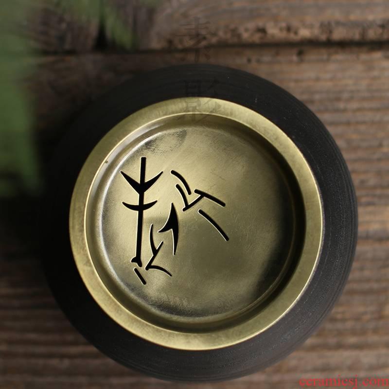 Qiao mu coarse pottery water meng ceramic building black metal tin lid zen kung fu tea accessories office dross barrels