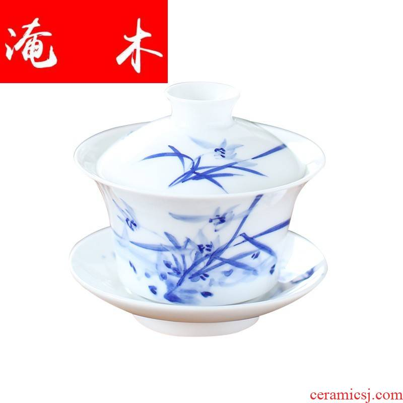 Submerged wood jingdezhen tureen hand made blue and white porcelain ceramic cups large three bowls of kung fu tea set in a mercifully