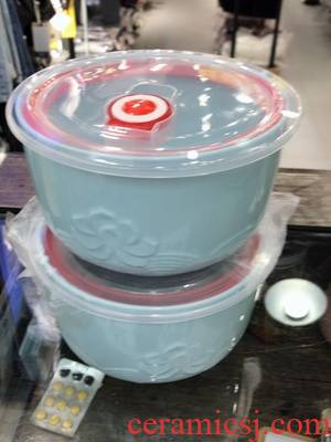 Ceramic bowl with lid special heat preservation sealing bowl by microwave bowl lunch box office worker mercifully rainbow such use