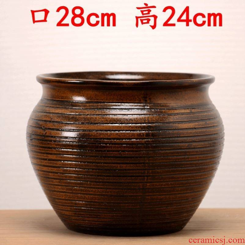 Large POTS to hand the old running high coarse pottery mage landscape ceramic breathable meat flowerpot household contracted orchid pot